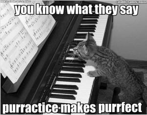 C'est en forgeant qu'on devient forgeron. Et avec un chat sur un piano, c'est encore mieux.